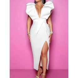 Short Sleeve Backless V-Neck Bodycon Women's Dress