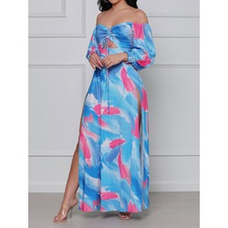 Split Floor-Length Off Shoulder Fashion Women's Dress
