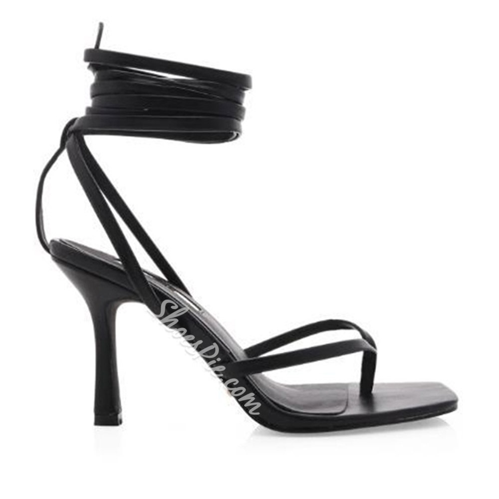 Shoespie Stylish Lace-Up Stiletto Heel Strappy Lace-Up Sandals