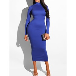 Long Sleeve Mid-Calf Turtleneck Summer Women's Dress