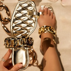 Shoespie Trendy Thread Flat With Toe Ring Summer Slippers