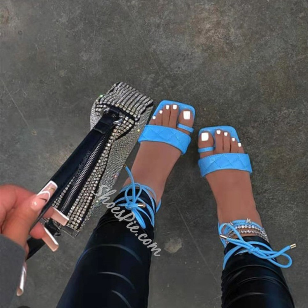 Shoespie Stylish Ankle Strap Lace-Up Flat With Cross Strap Sandals