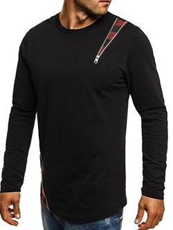 Round Neck Casual Patchwork Slim Long Sleeve T-shirt