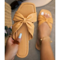 Shoespie Trendy Toe Ring Flat With Bow Casual Slippers