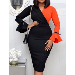 Long Sleeve V-Neck Mid-Calf Bodycon Women's Dress