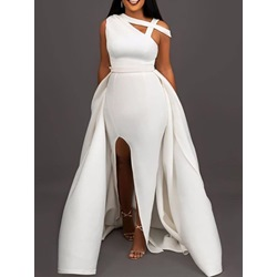 Short Sleeve Floor-Length Patchwork Bodycon Women's Dress