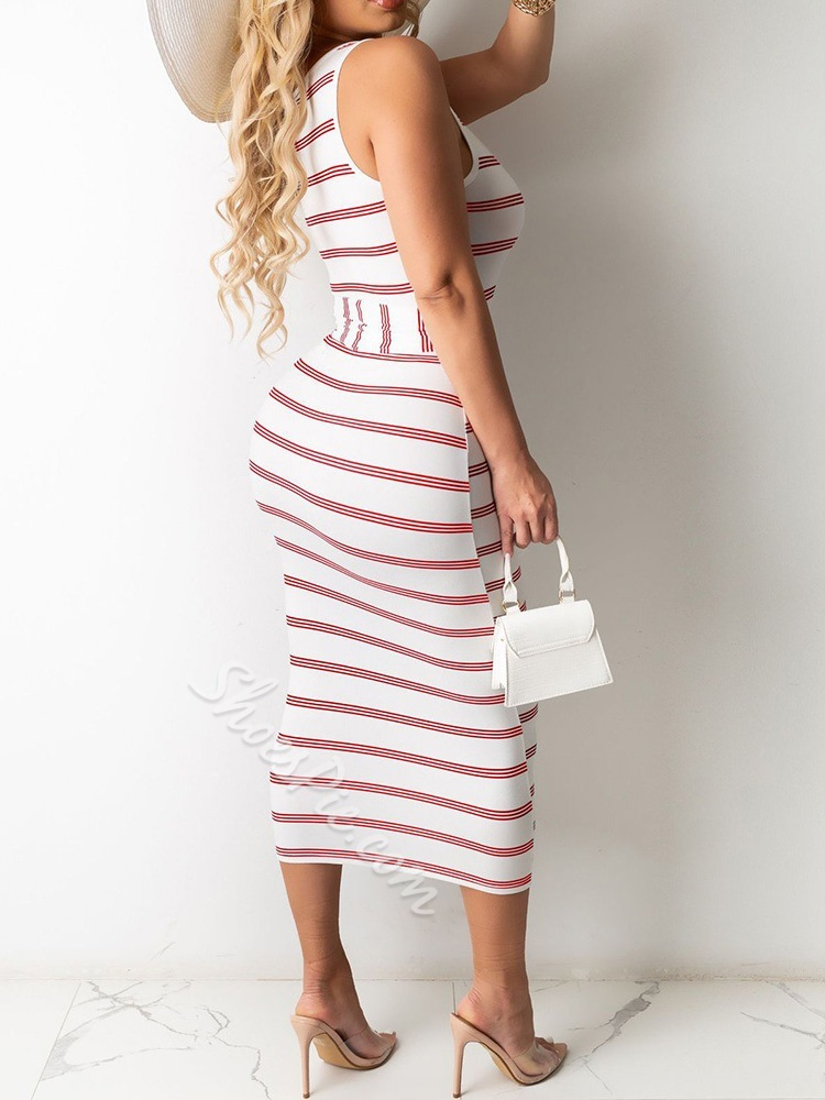 Lace-Up Scoop Mid-Calf Bodycon Women's Dress