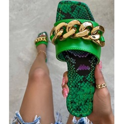 Shoespie Trendy Serpentine Slip-On Toe Ring Color Block Slippers