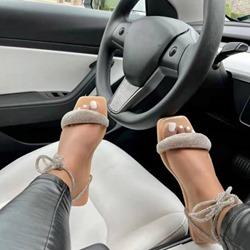 Shoespie Stylish Open Toe Flat With Lace-Up Beach Sandals