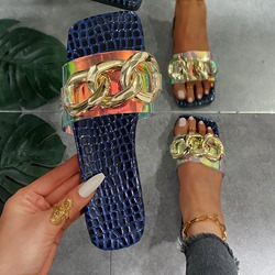 Shoespie Trendy Sequin Toe Ring Flat With Plain Slippers