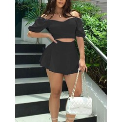 Plain Sexy Skirt Pullover Women's Two Piece Sets