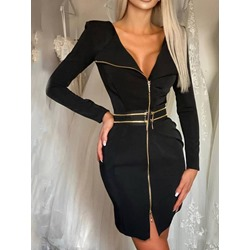 Above Knee Zipper Long Sleeve Zipper Women's Dress