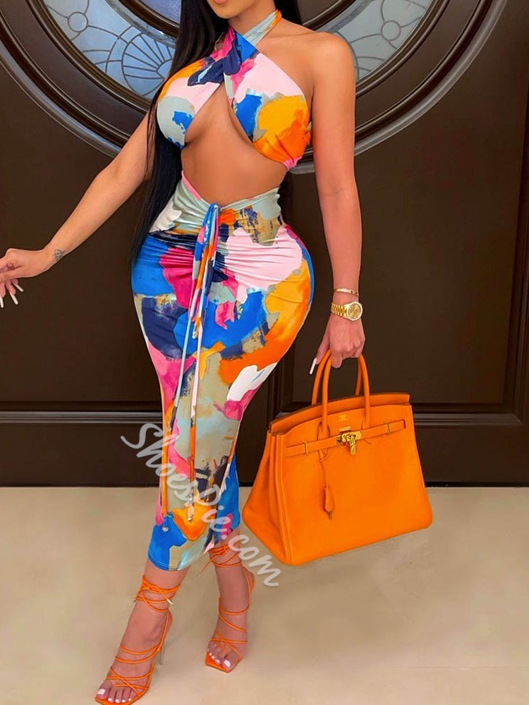 Print Vest Sexy Pullover Women's Two Piece Sets