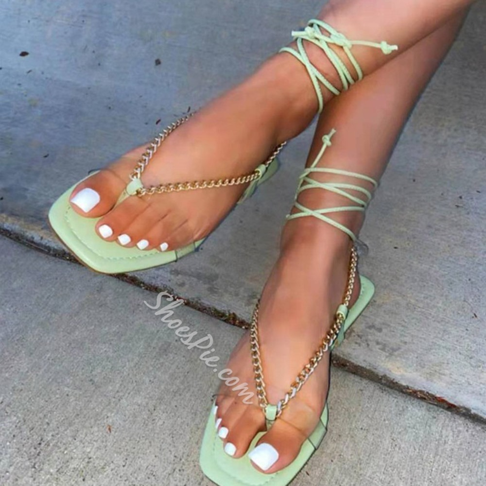 Shoespie Trendy Flat With Thong Lace-Up Chain Sandals