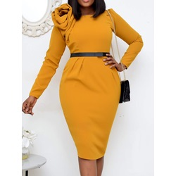 Mid-Calf Patchwork Long Sleeve Bodycon Women's Dress