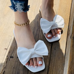Shoespie Stylish Toe Ring Flat With Bow Summer Slippers