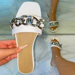 Shoespie Trendy Flat With Toe Ring Sequin PVC Slippers