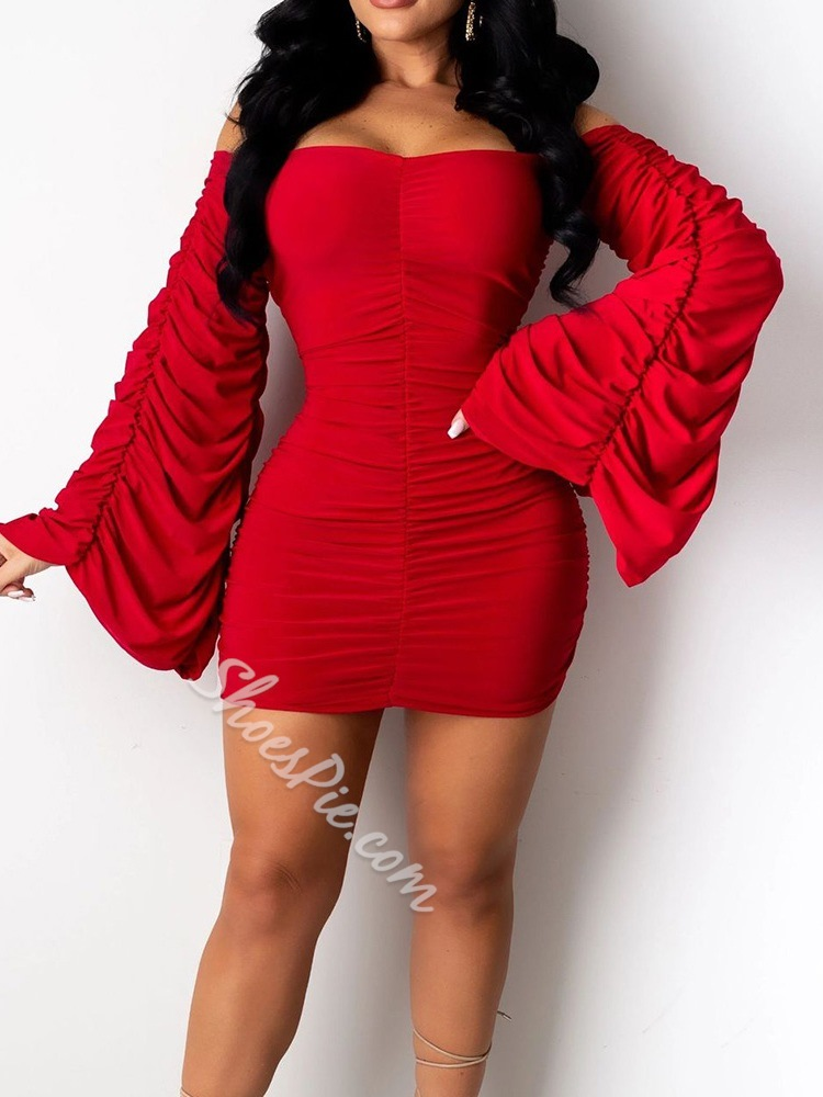 Pleated Long Sleeve Off Shoulder Pullover Women's Dress
