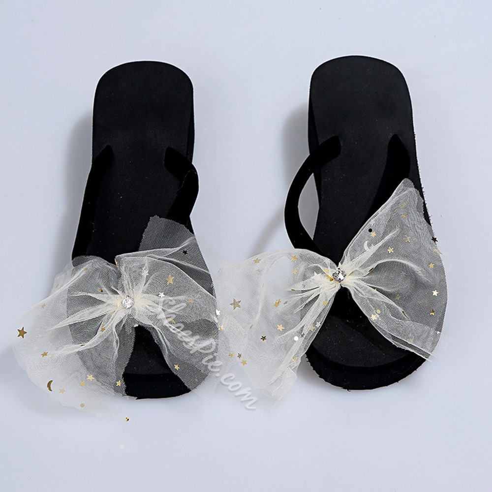 Shoespie Stylish Bow Slip-On Thong Rubber Slippers