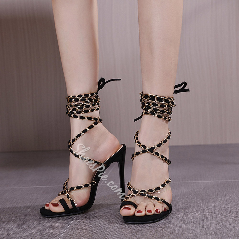 Shoespie Trendy Stiletto Heel Thong Lace-Up Western Sandals