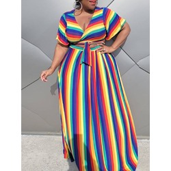 Skirt Stripe Casual Straight Women's Two Piece Sets