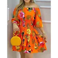 Above Knee Off Shoulder Print Fall Women's Dress