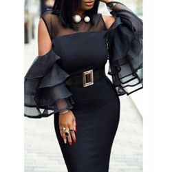 Long Sleeve Mid-Calf Plain Bodycon Women's Dress