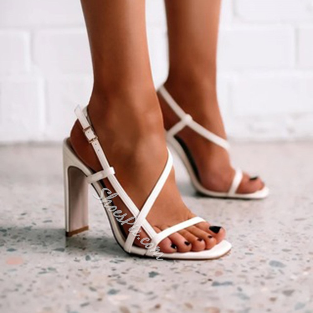 Shoespie Stylish Square Toe Buckle Chunky Heel Western Sandals