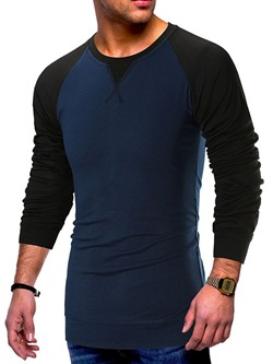 Round Neck Color Block Casual Pullover Slim T-shirt
