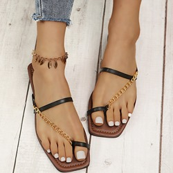 Shoespie Trendy Chain Flat With Toe Ring Summer Slippers