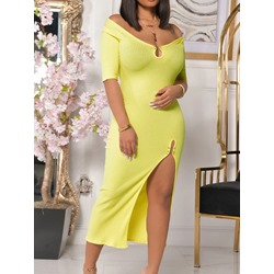 Half Sleeve Split Mid-Calf High Waist Women's Dress