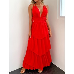 Floor-Length Patchwork Red Sleeveless Pullover Women's Dress