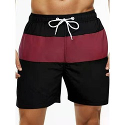 Straight Lace-Up Color Block Casual Lace-Up Shorts