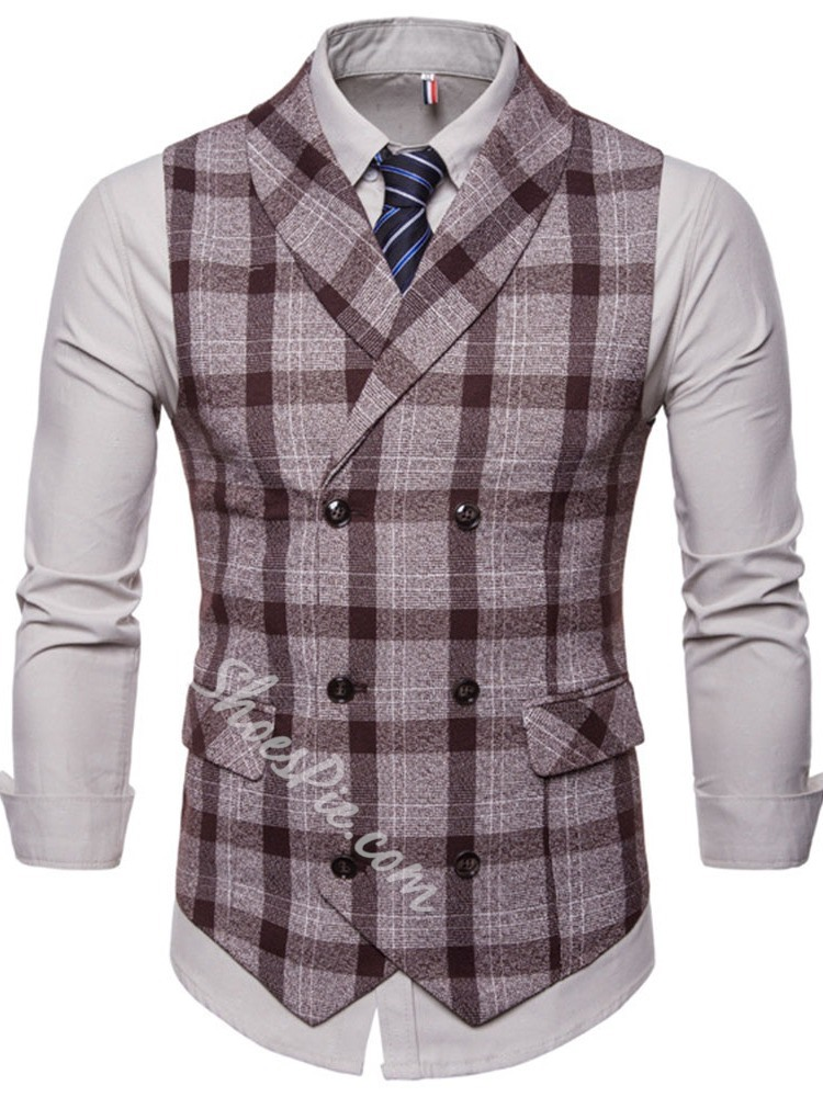 Plaid Pocket Spring Double-Breasted Waistcoat