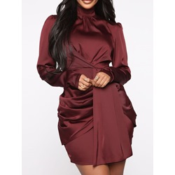 Pleated Long Sleeve Above Knee High Waist Burgundy Women's Dress