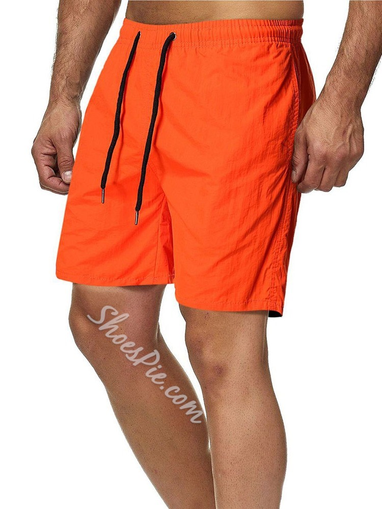 Lace-Up Plain Straight Lace-Up Casual Shorts