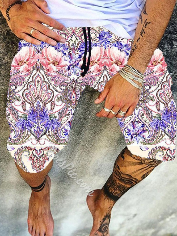 Floral Straight Lace-Up Beach Shorts