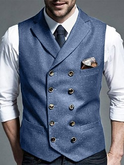 Plain Button Lapel Formal Double-Breasted Waistcoat