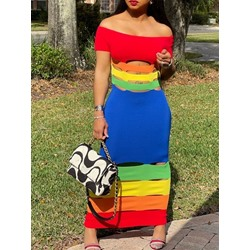 Off Shoulder Sleeveless Ankle-Length Casual Women's Dress