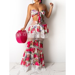 Patchwork Floral Sexy Off Shoulder Women's Two Piece Sets
