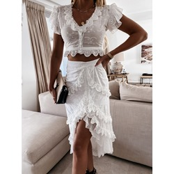 Skirt Plain Fashion Single-Breasted Women's Two Piece Sets