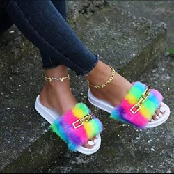Shoespie Sexy Chain Flat With Slip-On Summer Slippers
