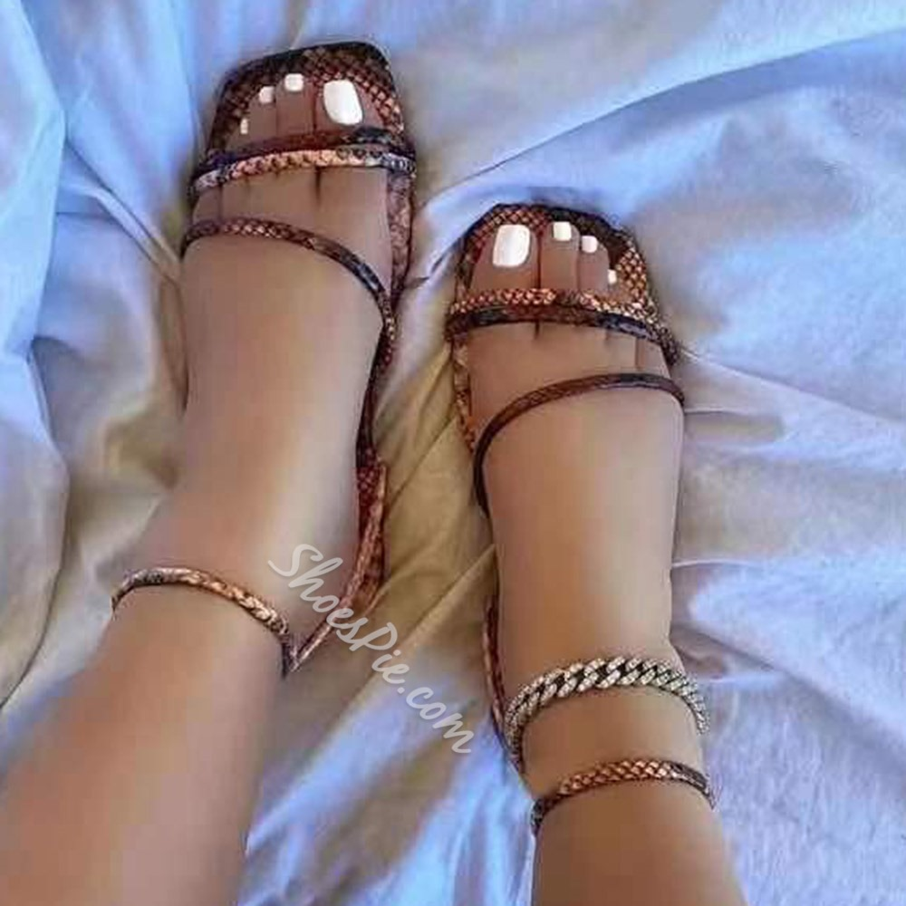 Shoespie Stylish Flat With Square Toe Buckle Western Sandals