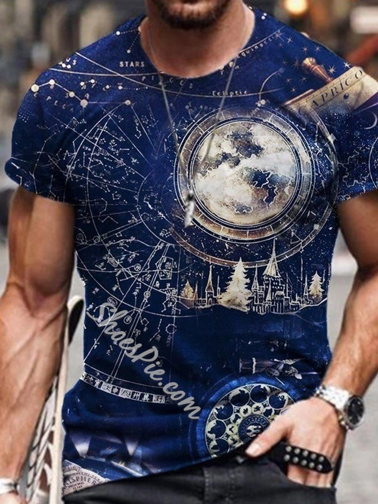 Summer Print Round Neck Casual Pullover Slim T-shirt