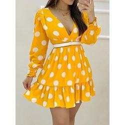 Patchwork Long Sleeve Above Knee Pullover Women's Dress