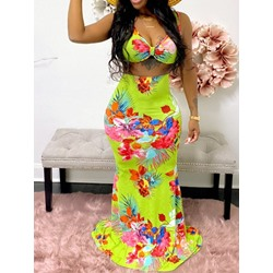 Floral Print Skirt Bodycon Women's Two Piece Sets