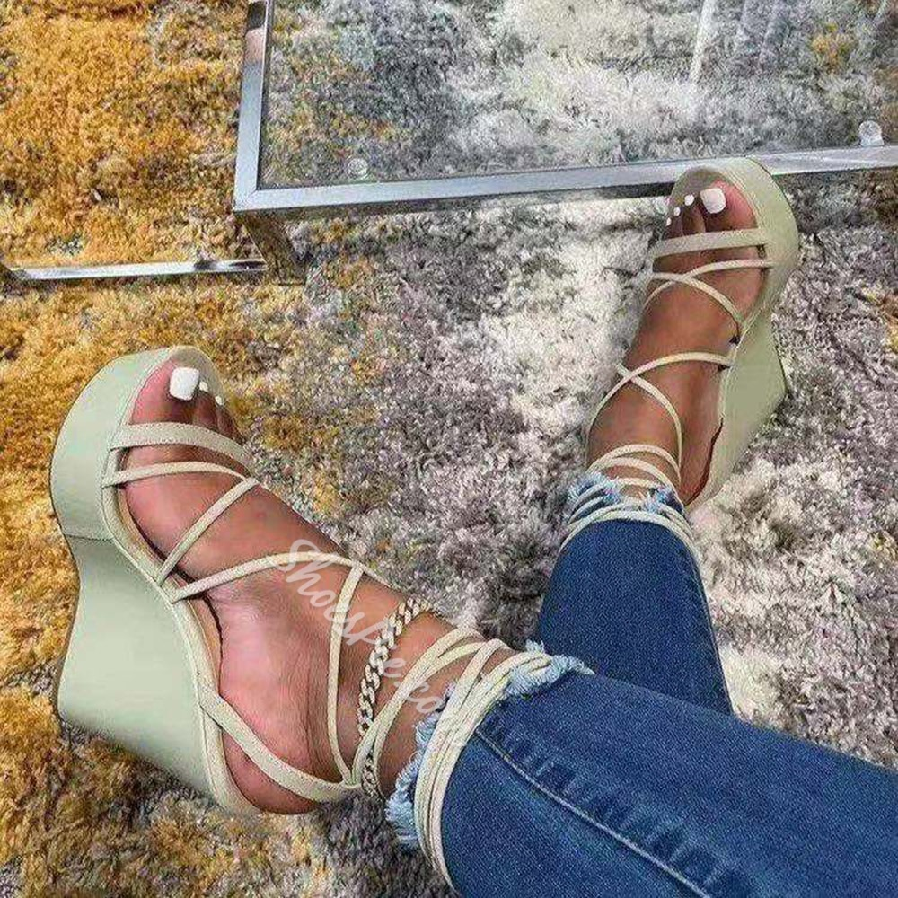 Shoespie Sexy Lace-Up Wedge Heel Open Toe Lace-Up Sandals
