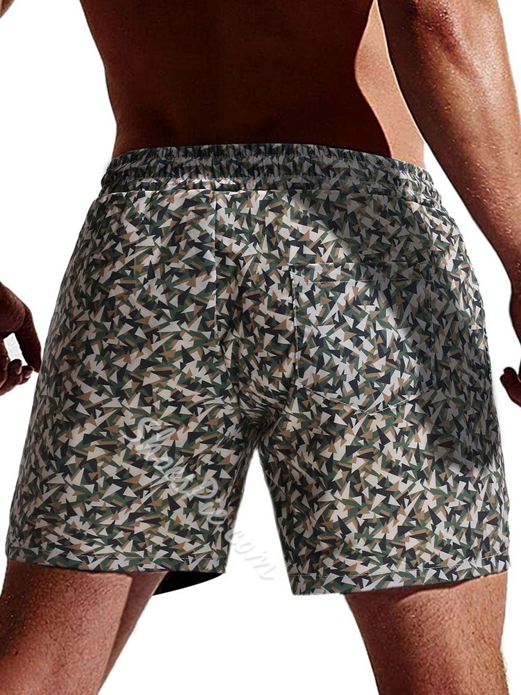 Camouflage Lace-Up Straight Beach Shorts