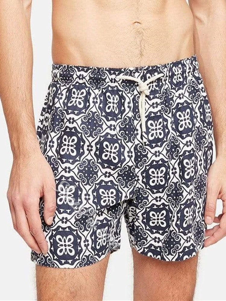 Lace-Up Straight Beach Shorts