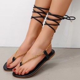 Shoespie Stylish Flat With Thong Lace-Up Plain Sandals